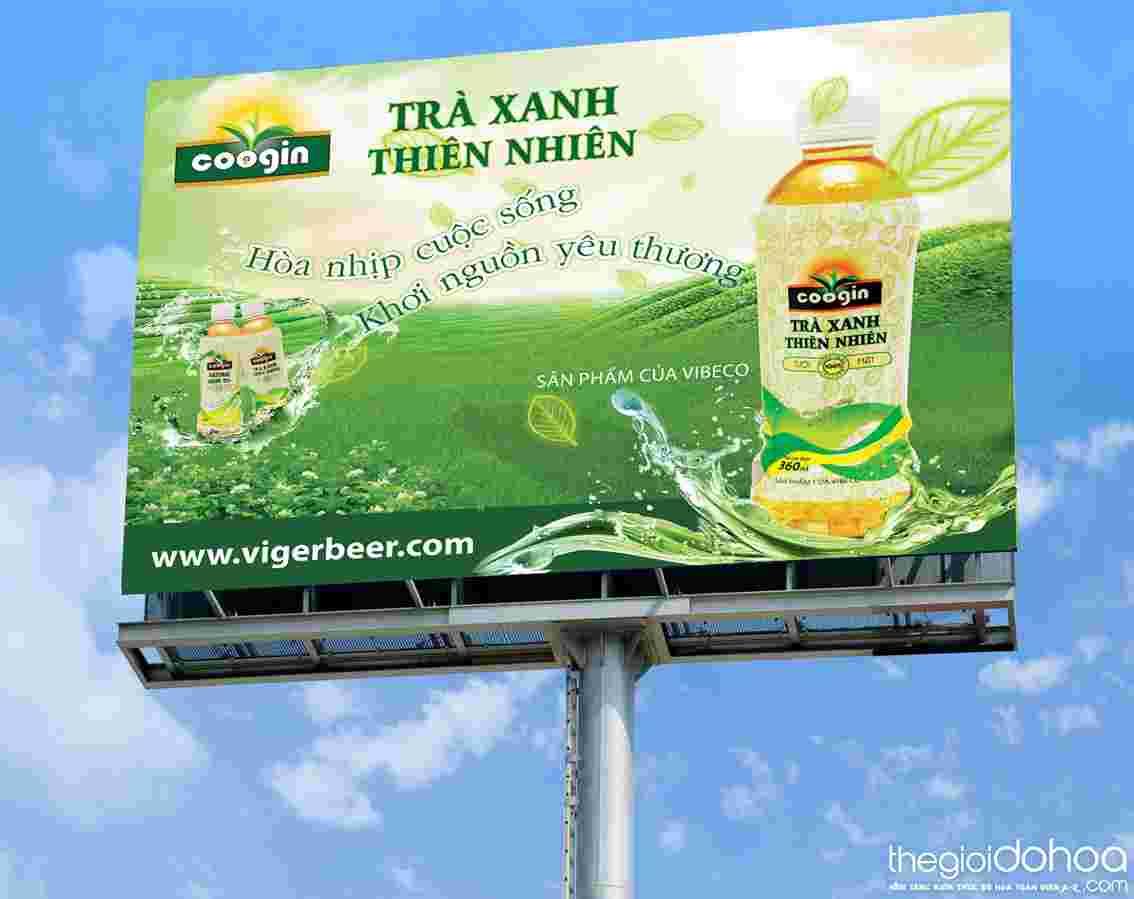 Biển quảng cáo trà xanh thiên nhiên