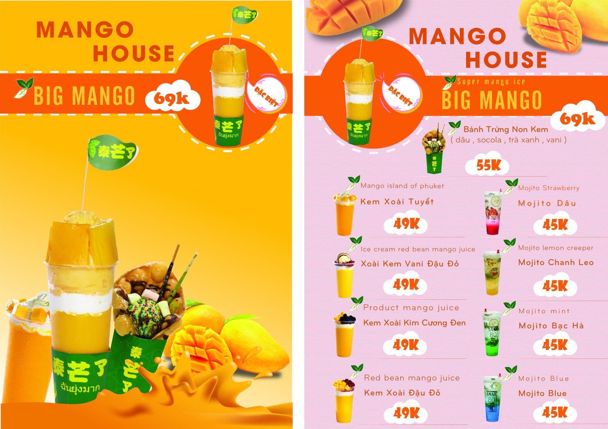 Thiết kế Menu đồ uống Mango House1