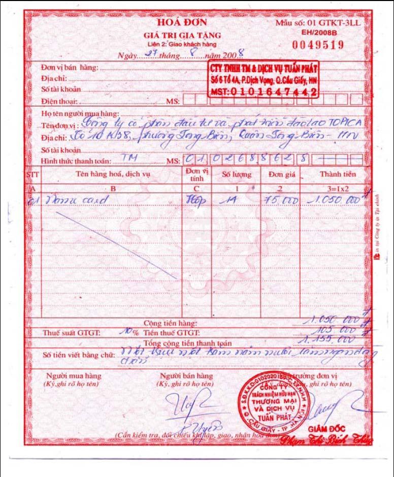 top mẫu thiết kế hóa đơn VAT